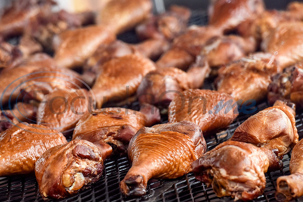 Turkey legs on the grill at the East Texas State Fair in Tyler, Texas, on Friday, Sept. 21, 2018. (Chelsea Purgahn/Tyler Morning Telegraph)