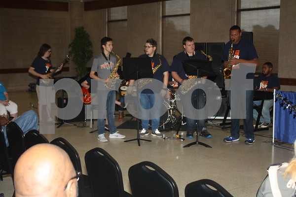 UT Tyler Jazz Band performs for senior citizens at the East Texas State Fair.