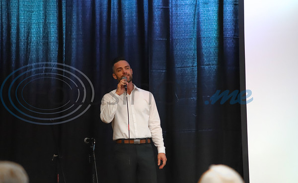 Casey Rivers performs for the crowd at the 11th Annual Robert L Breckenridge Men's Breakfast hosted at KE Bushmans in Bullard. Sarah Perez/Freelance