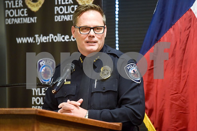 Police Chief Jimmy Toler speaks at the Tyler Police Department in Tyler, Texas, on Tuesday, Sept. 4, 2018. Seven new police recruits were sworn in and received their badges during the ceremony. (Chelsea Purgahn/Tyler Morning Telegraph)