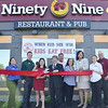 The Ninety Nine Restaurant & Pub held a grand re-opening on Thursday afternoon. The restaurant was closed for renovations from Sunday, June 15th – Wednesday, June 18th. As part of the Grand Re-Opening celebration, the Ninety Nine donated $1,000 to the Boys & Girls Club of Fitchburg and Leominster. From left are Jenny Bolduc, Gwen Kantor, General Manager JP Seedoff, Fitchburg Mayor Lisa Wong, State Representative Stephen DiNatale, Paul Arruda, Neddy Latimer, Donata Martin of the Boys & Girls Club, Kristi Pantano, and Dave LeDoux. SENTINEL & ENTERPRISE / Ashley Green