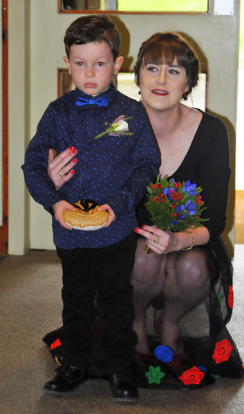 Bridesmaid Aoife with  apprehensive ringbearer.