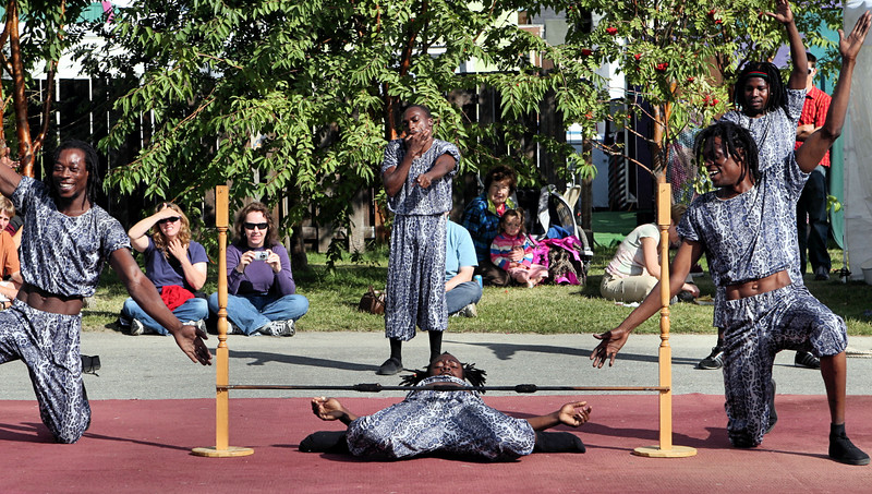 How low can you go?  Black Angels acrobatic troupe from Kenya