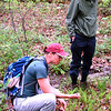 "Debbie Blank | The Herald-Tribune<br /> Liz Brownlee (left) and Chris Black, Madison, check out some ferns, which ""were around when the dinosaurs were here."" Black found a plastic bag and used it to pick up trash during the hike."