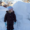 Eve by the snow pile