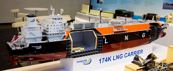 Many LNG tanker members exhibit their ships with hundredth (or so) scale models.