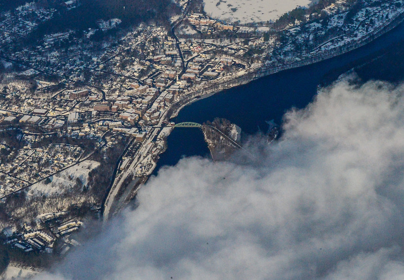 KRISTOPHER RADDER - BRATTLEBORO REFORMER<br /> Marvin Dezendorf, flight instructor for Monadnock Aviation, flies a Cessna 172 around Brattleboro, Vernon, Townshend, Dover, and Wilmington as a blanket of snow covers the area on Wednesday, Dec. 14, 2016.