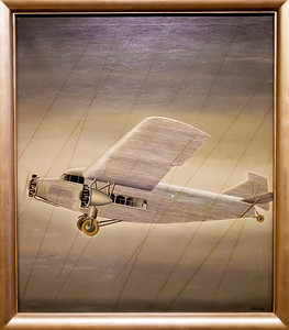 """Elsie Driggs' painting of a Ford Trimotor passenger plane,  """"Aeroplane"""" 1928"""