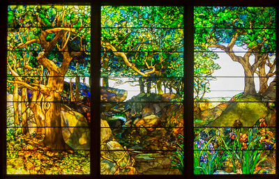 Tiffany: A Wooded Landscape in Three Panels