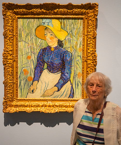 Carol with van Gogh's Young Peasant Woman with Straw Hat Sitting in the Wheat