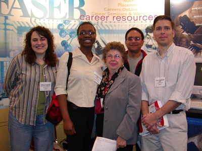 Drs. Judy Venuti and Ed Rosa-Molinar pose with best developmental biology poster winner, Oluwafoyinsayom Fasanmi (UMBC), at ABRCMS 2004 meeting.