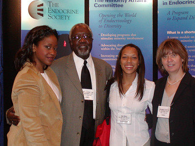 Visitors at ENDO's booth - ABRCMS 2004:  Kirsta Suggs (ENDO,) Dr. James Story (Meharry Medical College,) Nia Price (San Diego State University student) and Veronica Parcan (ENDO.)