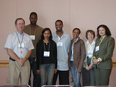 ABRF 2007/FASEB MARC travel award winners (L-to-R) Dr. Mark Lively, a professor at Wake Forest University and ABRF member); Mr. Emalick Njie, a graduate student at the University of Florida, Gainesville; Ms. Tanesha McCauley, a senior biology major at Winston-Salem State University; Mr. Jaiden Miskel, a senior biology major at Winston-Salem State University; Ms. Dawn Fitzpatrick, a graduate student at Indiana University School of Medicine.  Dr. Nancy Denslow, an associate professor at the University of Florida, and Dr. Susan Hardin, President & CEO of VisiGen Biotechnologies, Inc., also attended the ABRF 2007 Minority Travel Award Recipients Luncheon.  Dr. Hardin gave a presentation during the lunch.