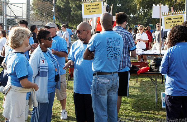 October 19th 2008, an estimated 60,000 people are living with HIV/AIDS in Los Angeles County -- with five new infections occurring each day. Nationally, new HIV infections are 40 percent higher than previously believed and the number of people living with HIV in the U.S. has hit an all-time high. Gay men, minorities and young people remain at heightened risk.   AIDS Walk Los Angeles: Since 1985, AIDS Walk Los Angeles has raised nearly $60 million for HIV programs and services throughout Los Angeles County, and has grown into one of the largest AIDS fundraising events in the country. In 2007 alone, 30,000 participants, many of whom were members of 1,300 corporate and community teams, raised a record sum of more than $3.9 million for AIDS Project Los Angeles (APLA) and over a dozen other AIDS service organizations.