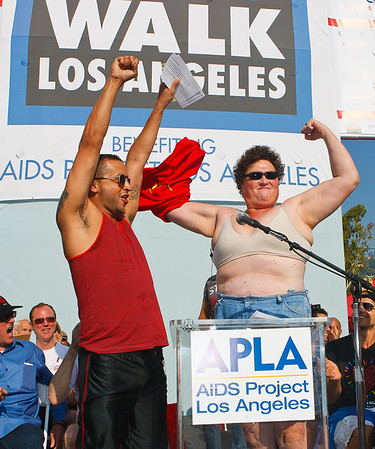 Jai Rodriguez (Queer Eye for the Straight Guy) & Dot Marie Jones (Glee) 27th ANNUAL AIDS WALK LOS ANGELES