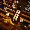 The casket carrying Andrew Leclaire is brought into St. Michael's, in Brattleboro, during the start of the funeral service. Sept. 2, 2016. Kristopher Radder / Reformer Staff