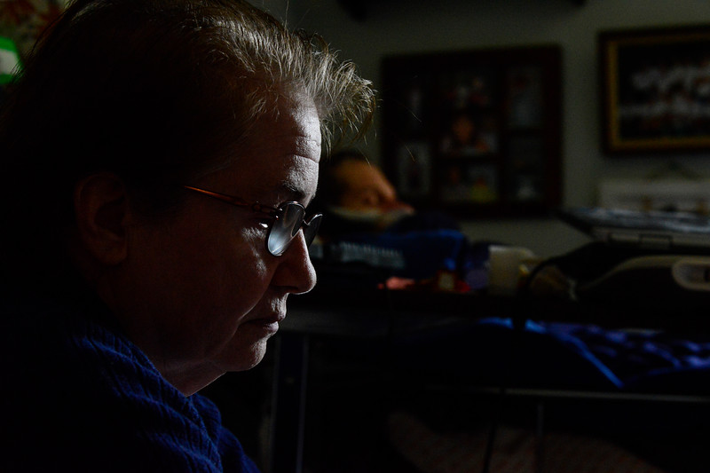 Andrew Leclaire starts to sleep more due to the progression of his disease, while Kathleen tries to remain strong during the final weeks. July 25, 2016. Kristopher Radder / Reformer Staff