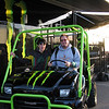Alex and Bruce trying on a Kawasaki Mule.