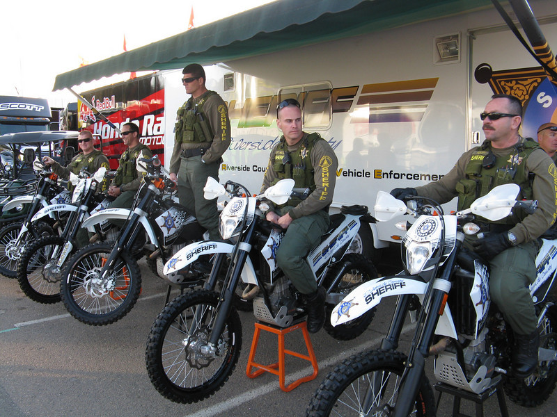 Riverside County Sheriffs on dirt bikes.