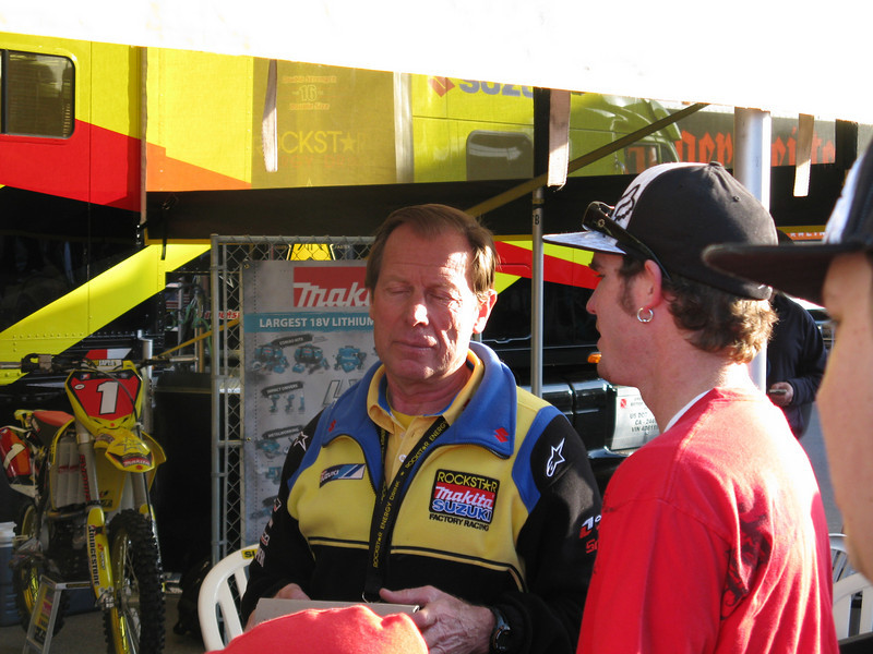 Team Suzuki manager Roger DeCoster, who is a former World Champ.