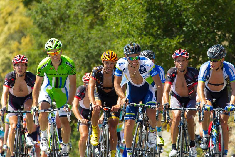 The back of the pack has a moment of levity amidst their competitive suffering, Amgen Tour of CA 2013.
