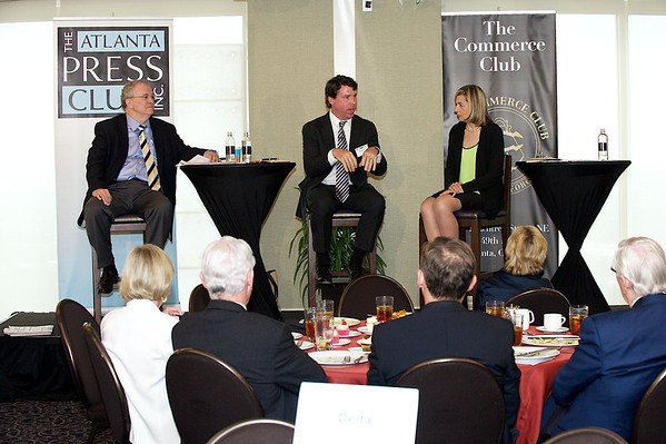 Future of News Newsmaker Luncheon with media moguls Tom Johnson, Alex Taylor and Margaret Sullivan.