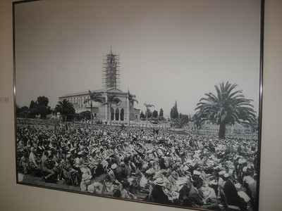 1950's photo of similar commencement exercises at Loyola Marmount University