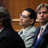 ABEYTA36.JPG ABEYTA36<br /> David Jones, Joseph Abeyta and Jason Savela listen to the prosecution's closing arguments during Abeyta's first-degree murder trial on Friday.<br /> <br /> Photo by Marty Caivano/Camera/Oct. 23, 2009/