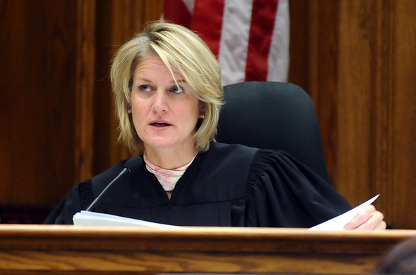 ABEYTA34.JPG ABEYTA34<br /> Judge Gwyneth Whalen reads the jury instructions during the first-degree murder trial of Joseph Abeyta, who is accused of killing his friend, William Andrews, in north Boulder in January 2009.<br /> <br /> Photo by Marty Caivano/Camera/Oct. 23, 2009/