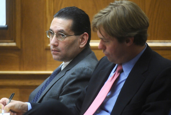 ABEYTA11.JPG ABEYTA11<br /> Joseph Abeyta, left, accused of murdering his friend, William Andrews, in north Boulder in January 2009, listens during his trial on Thursday. At right is attorney Jason Savela. <br /> <br /> Photo by Marty Caivano/Camera/Oct. 15, 2009/