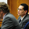Abeyta05.JPG Defense Attorney David Jones, at left, looks over his notes as Joseph Abeyta listens carefully to a witness at the Boulder County District Court on Thursday, Oct. 15, 2009.<br /> <br /> Photo by Jeremy Papasso/ For the Camera