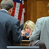 ABEYTA19.JPG ABEYTA19<br /> Judge Gwyneth Whalen discusses jury questions with district attorney Stan Garnett, left, and defense attorney David Jones, right, during the trial of Joseph Abeyta, accused of murdering his friend, William Andrews, in north Boulder in January 2009.<br /> <br /> Photo by Marty Caivano/Camera/Oct. 20, 2009/