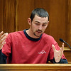 ABEYTA18.JPG ABEYTA18<br /> Patrick Blair Gunter describes the pool of blood he saw in Joseph Abeyta's car when the two men ran into each other at a gas station after the killing. Gunter is the son of Terry Latham, whom Joseph Abeyta threatened with a gun earlier the same day he shot William Andrews. <br /> Photo by Marty Caivano/Camera/Oct. 20, 2009/