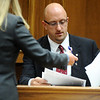 ABEYTA22.JPG ABEYTA22<br /> Detective Steven Desmond of the Longmont Police Department testifies about items found during a search of the Abeyta household  during the trial of Joseph Abeyta, accused of murdering his friend, William Andrews, in north Boulder in January 2009.<br /> <br /> Photo by Marty Caivano/Camera/Oct. 20, 2009/