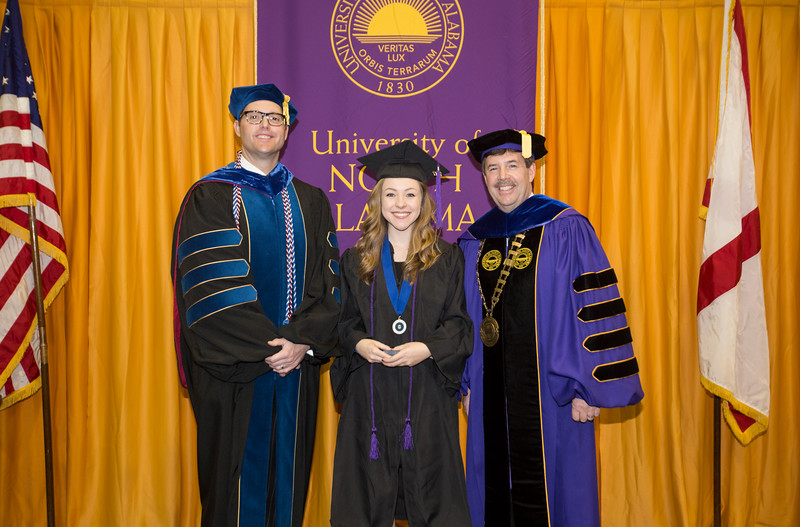 Dr. Ross C. Alexander  Vice President for Academic Affairs and Provost, Keller Key recipient Kaitlin Taylor Spillman and Dr. Kenneth D. Kitts  President.
