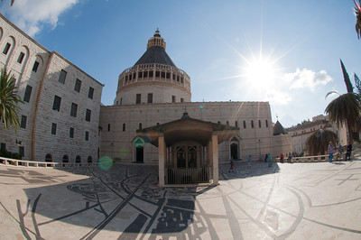 Outside the Basilica of the Annunciation in Nazareth, Israel.