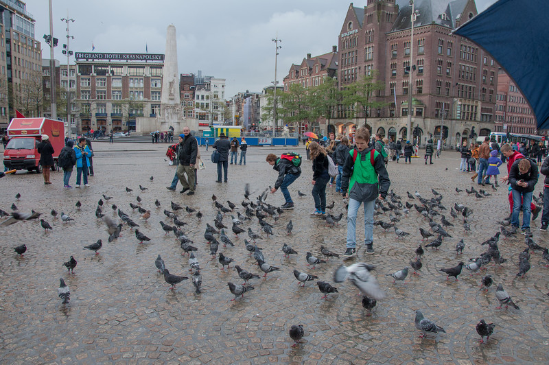 Dam square, in the center of Amsterdam.