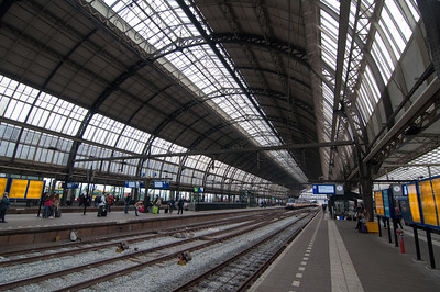 The train platform in Amsterdam.