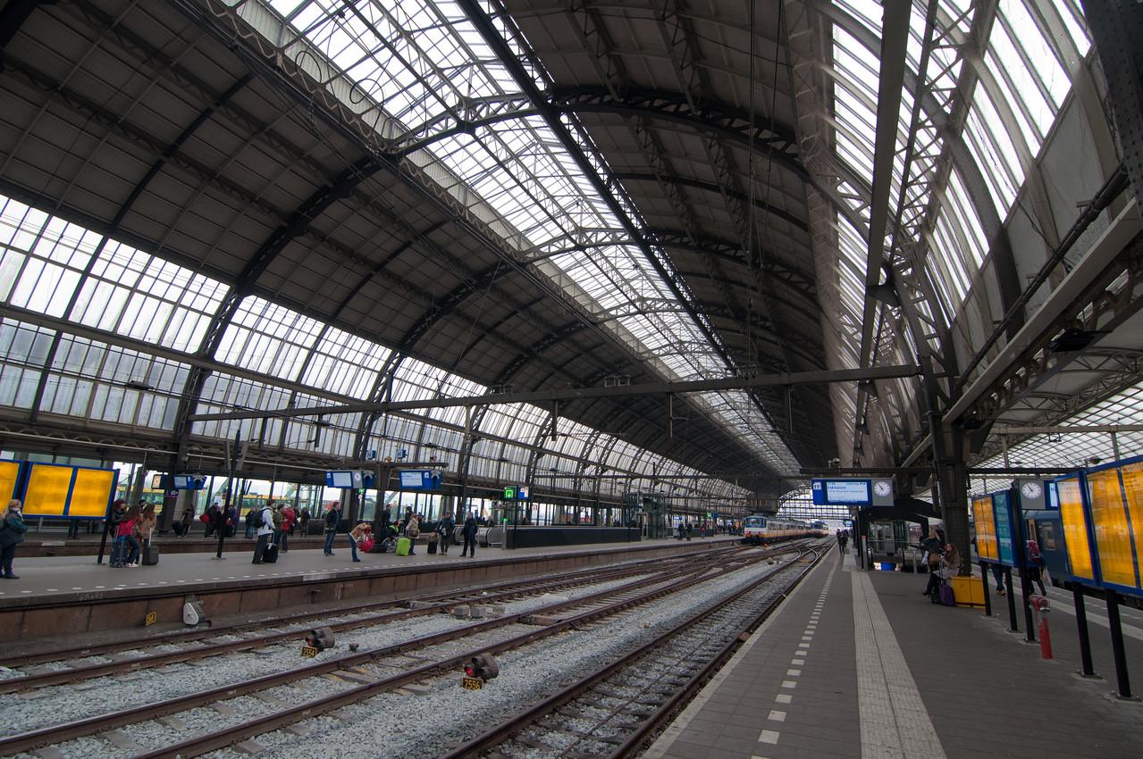 The train platform in Amsterdam.
