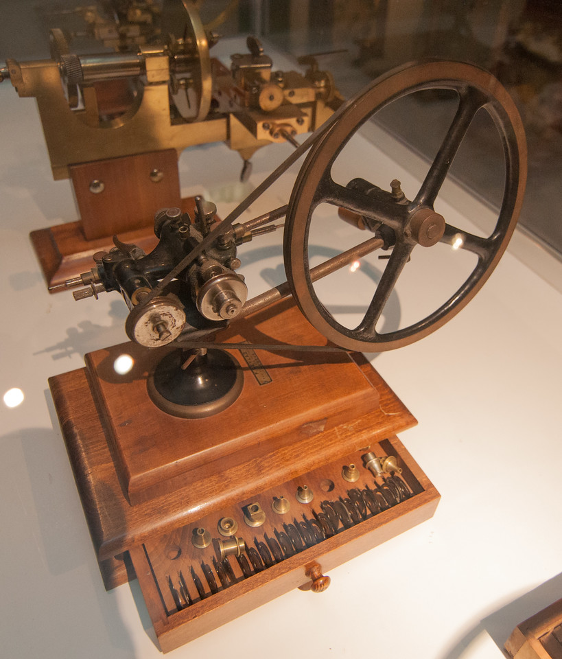 An example of the machining tools historically used to make clock components.