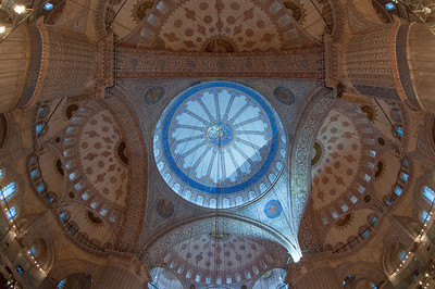Inside the Blue Mosque in historic Istanbul, Turkey.