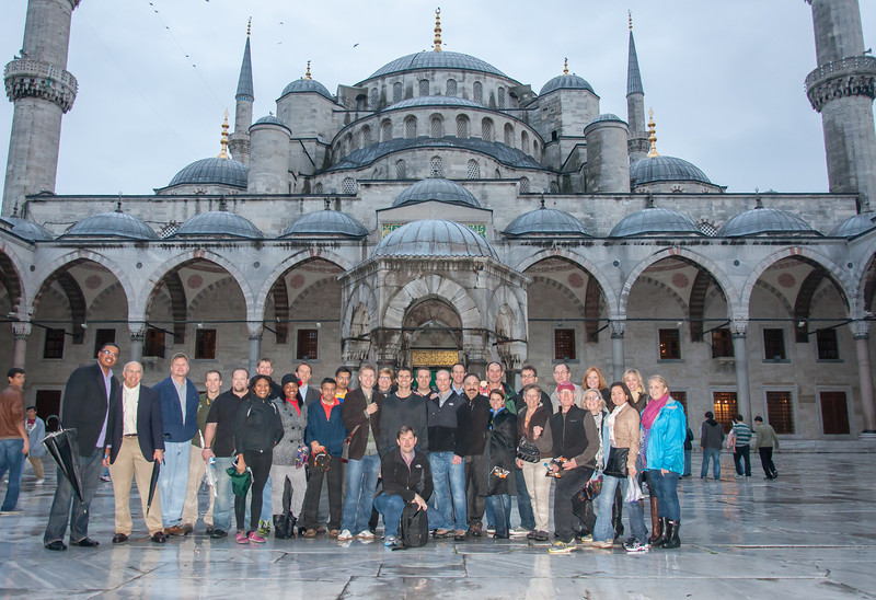 University of Denver, Daniels College of Business, Executive MBA cohort 58 outside the Blue Mosque in historic Istanbul, Turkey.