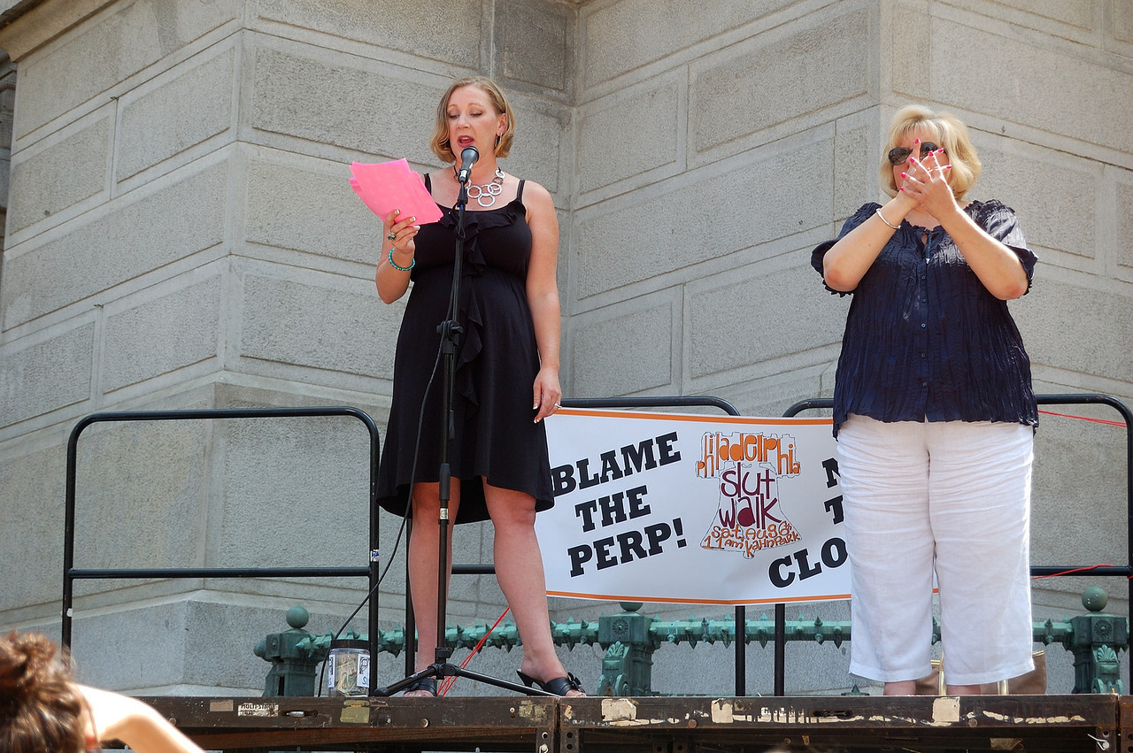 Slut Walk Philadelphia -- Kate Rush Cook speaking about her assault and trial. Sign Language interpreter on the right.