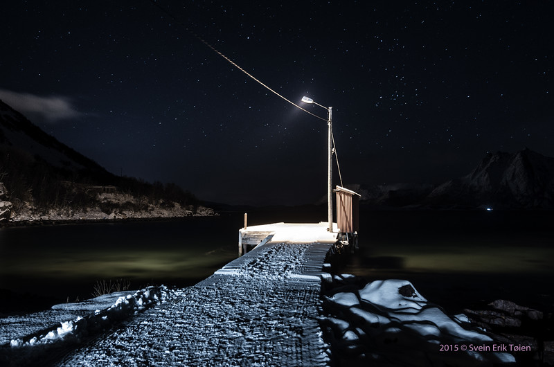 Lonely jetty in the night