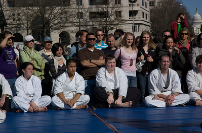 Watching the demo by Aikido of Arlington - Students and Spectators