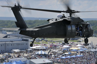 Black Hawk Flying Over the 2009 Rhode Island Open House and Air Show during the Combined Arms Demonstration on Saturday June 26th.