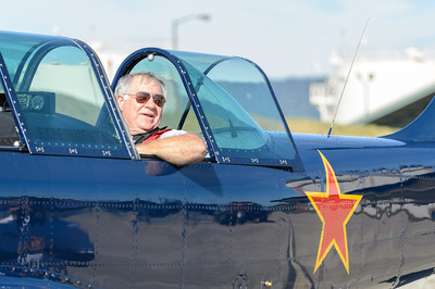 A lucky passenger in a Yakoviev Yak-52 piloted by Dan Christian