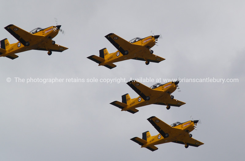 """Tauranga Airshow, 2008. New Zealand. Four"""" PAC CT4/E"""" military pilot trainers. Tauranga is New Zealands 5th largest city and offers a wonderfull variety of scenic and cultural experiences. ALSO SEE; <a href=""""http://www.blurb.com/b/3811392-tauranga"""">http://www.blurb.com/b/3811392-tauranga</a>"""