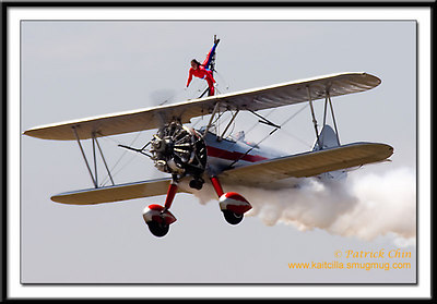 The wing-walker performed the aerobatics.