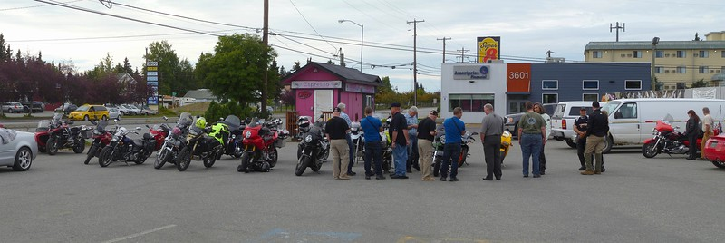 "August 13, 2015:  Barb at Alaska Leather hosted a ""Welcome to Alaska"" party for world traveler Rosco Pinnell, North Island New Zealand. He came to town with his fellow adventurers! They are riding from Alaska to South America and we're celebrating!"